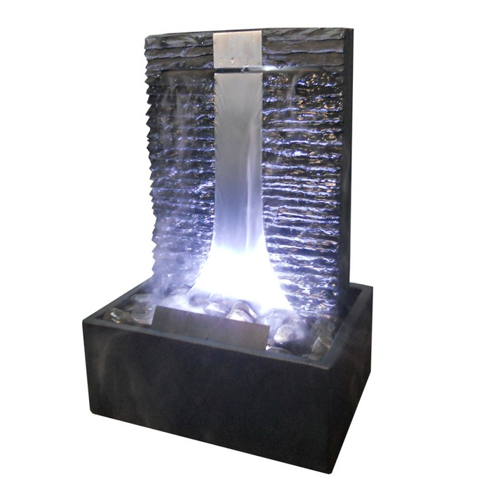 tischbrunnen flamme inox 46 mit led und nebler pumpe